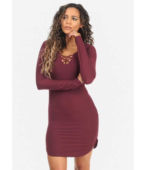 Imbracaminte Femei CheapChic Stylish Wine Long Sleeve Lace Up V-Neck Stretchy Above Knee Dress Multicolor