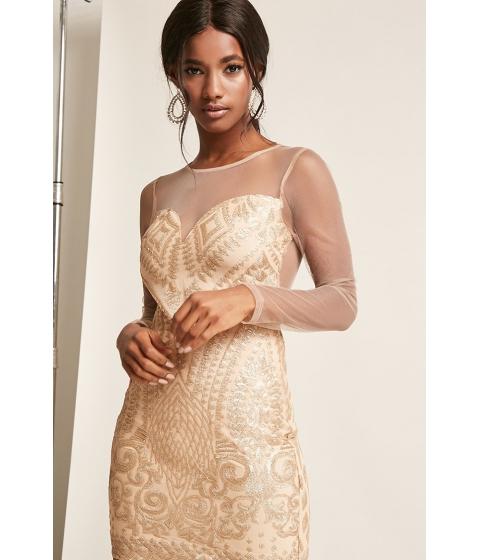 Imbracaminte Femei Forever21 Glitter Sequin Mesh Dress NUDEGOLD