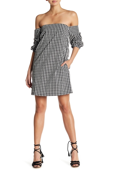 Imbracaminte Femei 1State Off-the-Shoulder Plaid Dress CHAMBRAY