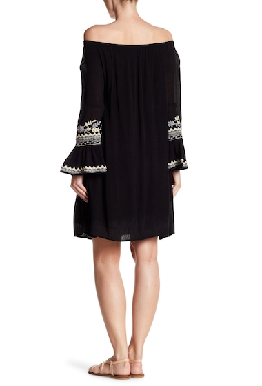Imbracaminte Femei Max Studio Embroidered Off-the-Shoulder Gauze Dress BLACK