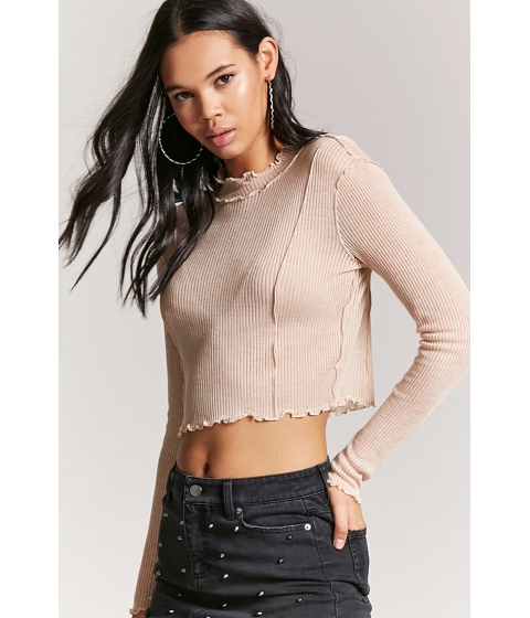 Imbracaminte Femei Forever21 Ribbed Knit Crop Top NUDE