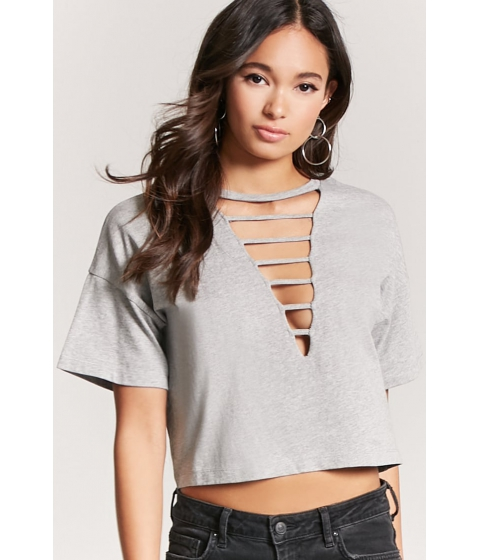 Imbracaminte Femei Forever21 Laddered Crew Neck Tee HEATHER GREY