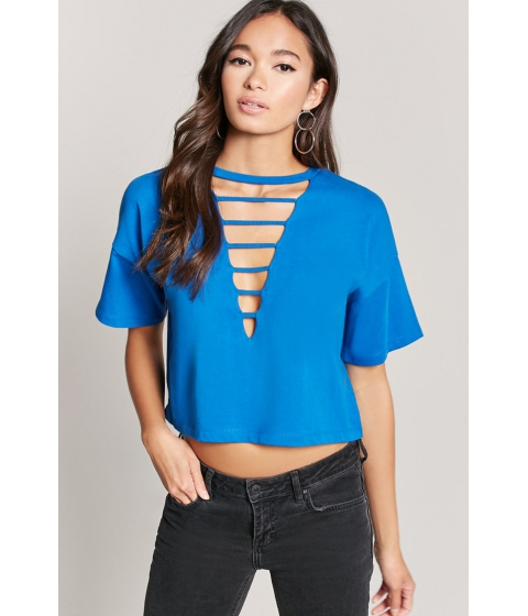 Imbracaminte Femei Forever21 Laddered Crew Neck Tee ROYAL
