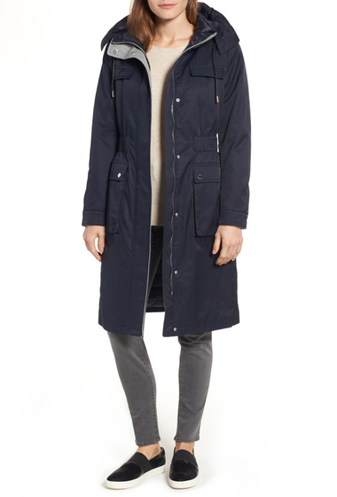 Imbracaminte Femei Laundry by Shelli Segal Cotton Blend Long Utility Trench Coat NAVY