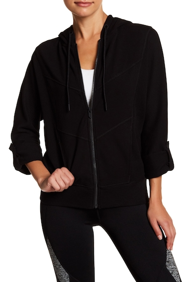 Imbracaminte Femei Marc New York Chevron Roll Sleeve Zip Hoodie BLACK