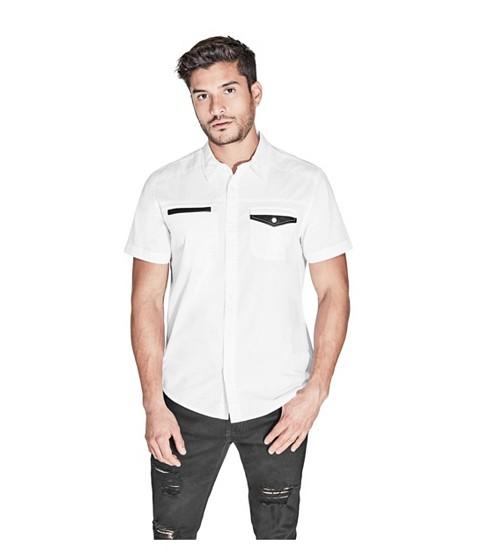 Imbracaminte Barbati GUESS Zoran Poplin Shirt true white