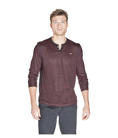 Imbracaminte Barbati GUESS Madrona Henley Tee marmont red