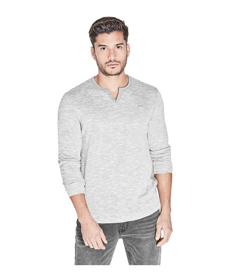 Imbracaminte Barbati GUESS Madrona Henley Tee true white