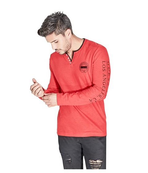 Imbracaminte Barbati GUESS Trumer Henley Tee varsity red