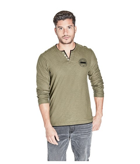 Imbracaminte Barbati GUESS Trumer Henley Tee burnt olive