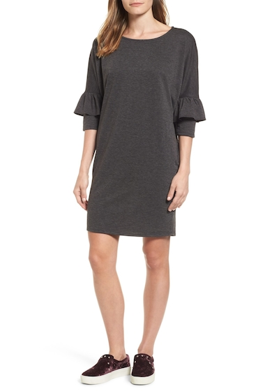 Imbracaminte Femei Bobeau Ruffle Sleeve Tunic Dress BLACK