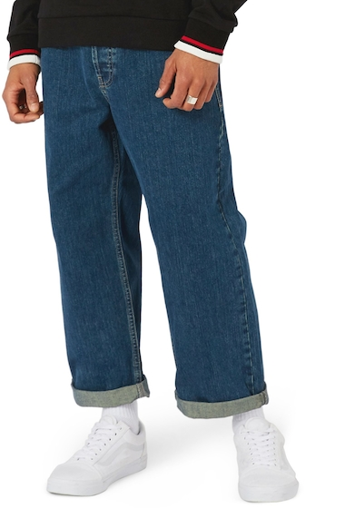 Imbracaminte Barbati TOPMAN Crop Wide Leg Jeans BLUE