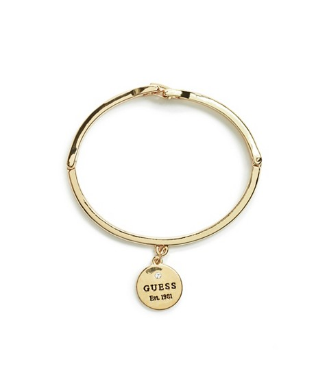 Bijuterii Femei GUESS Gold-Tone Logo Charm Bangle gold