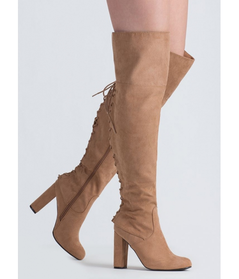Incaltaminte Femei CheapChic Living Legend Lace-back Thigh-high Boots Camel