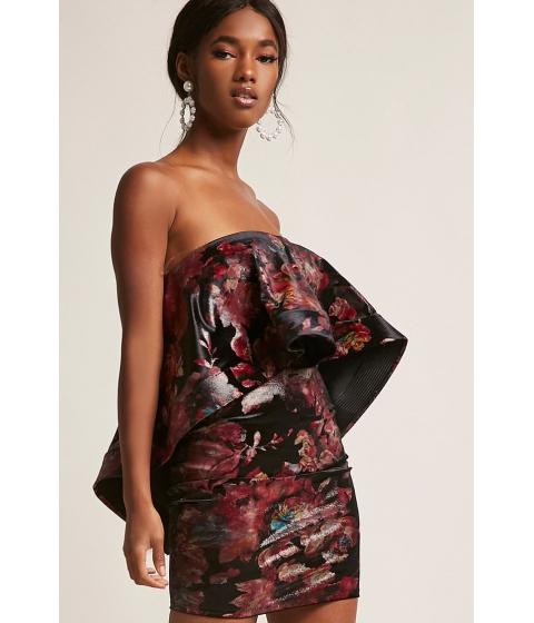 Imbracaminte Femei Forever21 Floral Flounce Mini Tube Dress BLACKRED