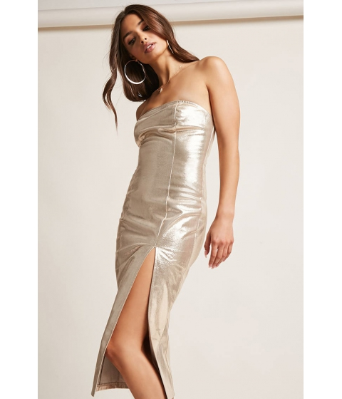 Imbracaminte Femei Forever21 Front-Slit Metallic Strapless Dress GOLD