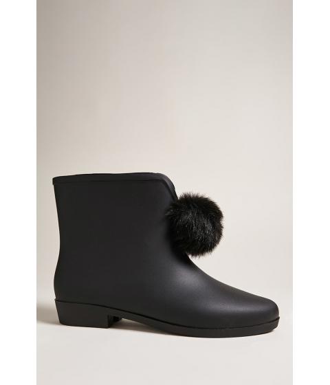 Incaltaminte Femei Forever21 Dizzy Pom Pom Rain Boots BLACK