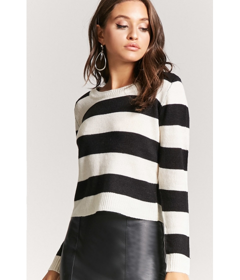 Imbracaminte Femei Forever21 Striped Purl Knit Sweater BLACKIVORY