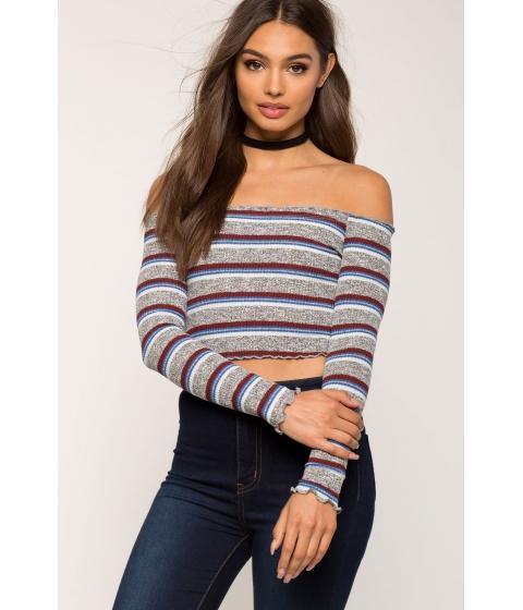 Imbracaminte Femei CheapChic Stella Stripe Off Shoulder Top Gray Pattern