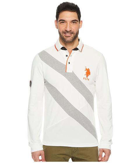 Imbracaminte Barbati US Polo Assn Slim Fit Color Block Long Sleeve Pique Polo Shirt White Winter