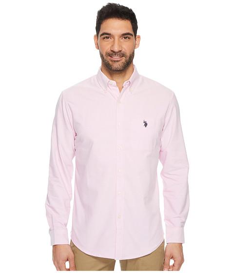 Imbracaminte Barbati US Polo Assn Classic Fit Long Sleeve Sport Shirt Light Pink Oxford