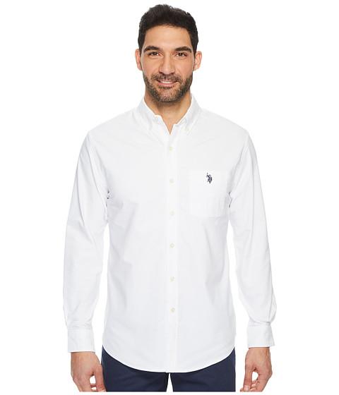 Imbracaminte Barbati US Polo Assn Classic Fit Long Sleeve Sport Shirt Optic White