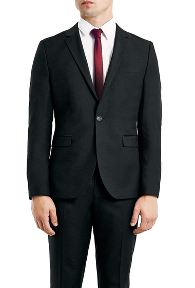 Imbracaminte Barbati TOPMAN Skinny Fit Black One-Button Suit Jacket BLACK