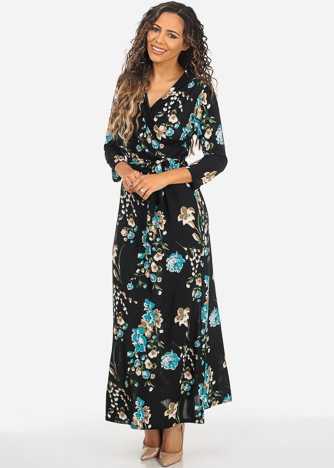 Imbracaminte Femei CheapChic Floral Print Black and Green 34 Sleeve Wrap Front Maxi Dress w Belt Included Multicolor