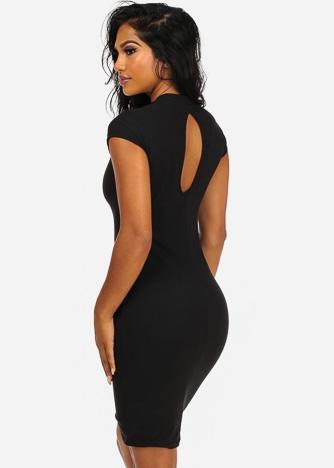 Imbracaminte Femei CheapChic Elegant Solid Black Cap Sleeve Back Keyhole Detail Knee Length Dress Multicolor