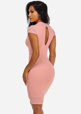 Imbracaminte Femei CheapChic Elegant Solid Pink Cap Sleeve Back Keyhole Detail Knee Length Dress Multicolor