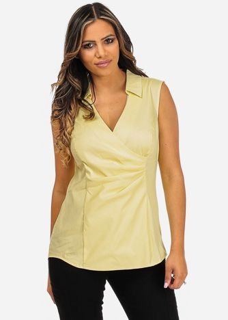 Imbracaminte Femei CheapChic NYDJ Brand Yellow Sleeveless Wrap Front V-Neck Stretchy Slimming Built In Top Multicolor