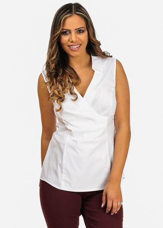 Imbracaminte Femei CheapChic NYDJ Brand White Sleeveless Wrap Front V-Neck Stretchy Slimming Built In Top Multicolor