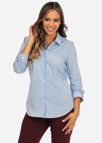 Imbracaminte Femei CheapChic NYDJ Brand Womens Office Wear Stripe Print Blue Button Up 34 Sleeve Shirt Multicolor
