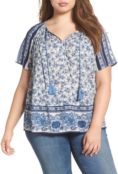 Imbracaminte Femei Lucky Brand Border Print Peasant Blouse Plus Size BLUE MULTI