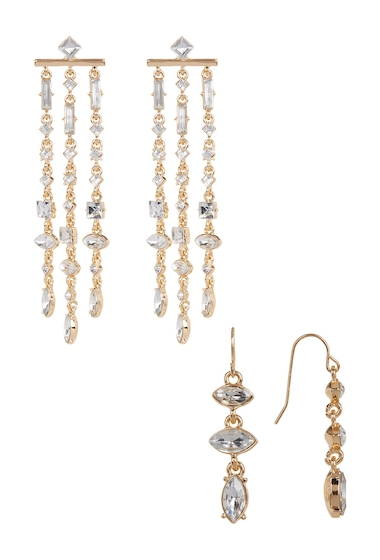 Bijuterii Femei Free Press Crystal Fringe Earrings - Set of 2 CLEAR-GOLD