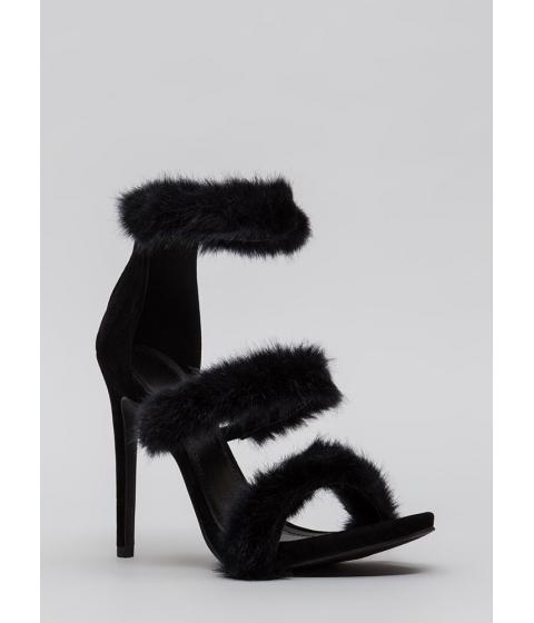 Incaltaminte Femei CheapChic Fur Your Consideration Strappy Heels Black