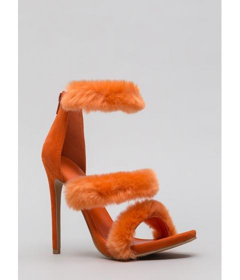 Incaltaminte Femei CheapChic Fur Your Consideration Strappy Heels Orange