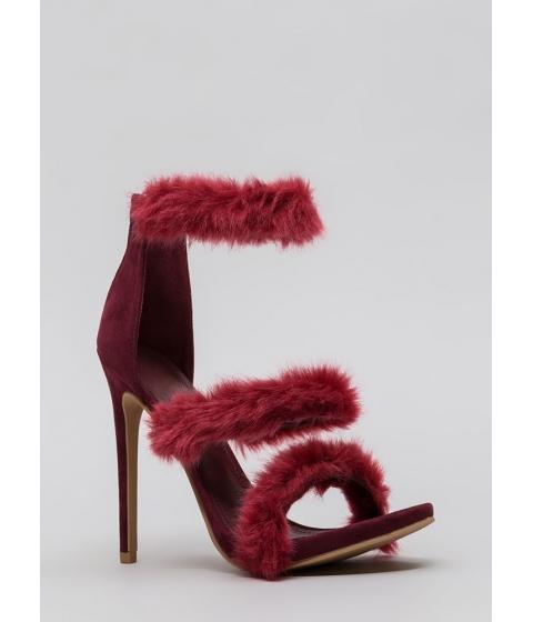 Incaltaminte Femei CheapChic Fur Your Consideration Strappy Heels Wine