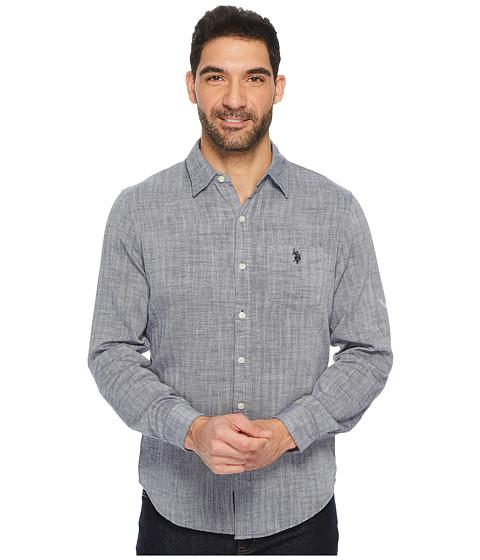 Imbracaminte Barbati US Polo Assn Slim Fit Solid Long Sleeve Sport Shirt Classic Navy