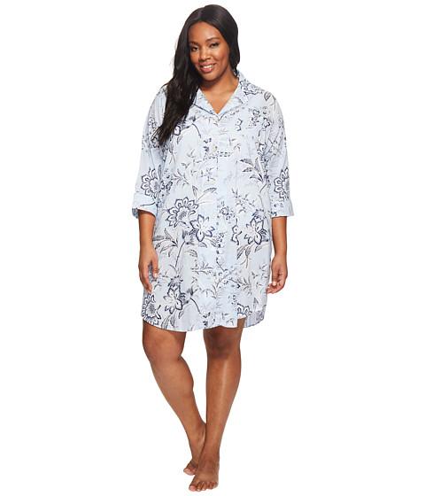 Imbracaminte Femei LAUREN Ralph Lauren Plus Size 34 Sleeve Classic Notch Collar Sleepshirt Blue Ground Floral