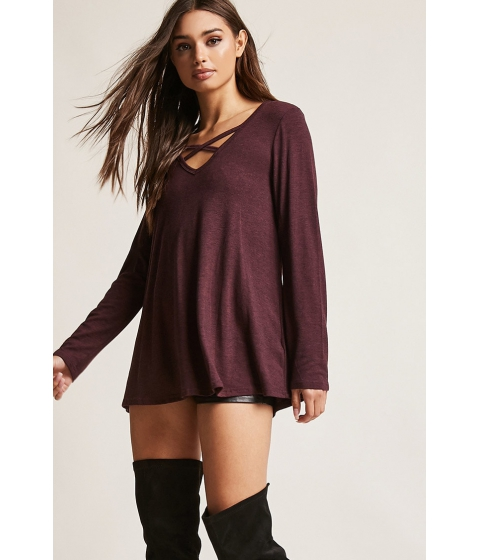 Imbracaminte Femei Forever21 Strappy V-Neck Top WINE