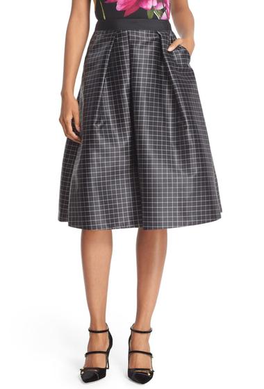 Imbracaminte Femei Ted Baker London Jozel Mono Chic Grid Print Full Skirt BLACK