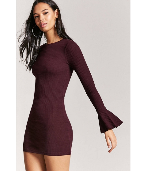 Imbracaminte Femei Forever21 Trumpet Sleeve Bodycon Dress EGGPLANT