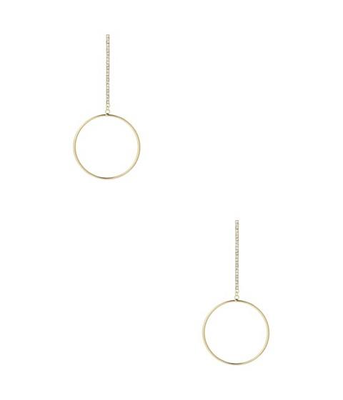 Bijuterii Femei GUESS Silver-Tone Pave Bar and Circle Earrings gold
