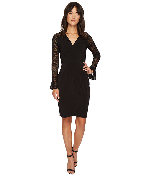 Imbracaminte Femei London Times Lace Sleeve Tulip Hem Faux-Wrap Dress Black