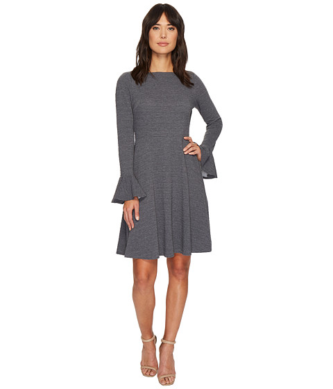 Imbracaminte Femei London Times Heather Ottoman Bell Sleeve Full Skirt Dress Grey