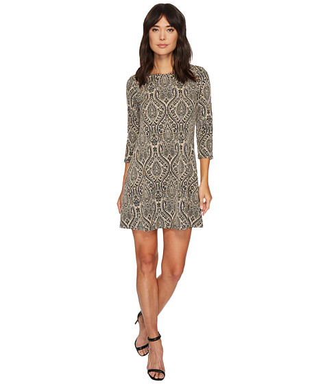 Imbracaminte Femei London Times Paisley Orb Jacquard 34 Sleeve Dress Taupe