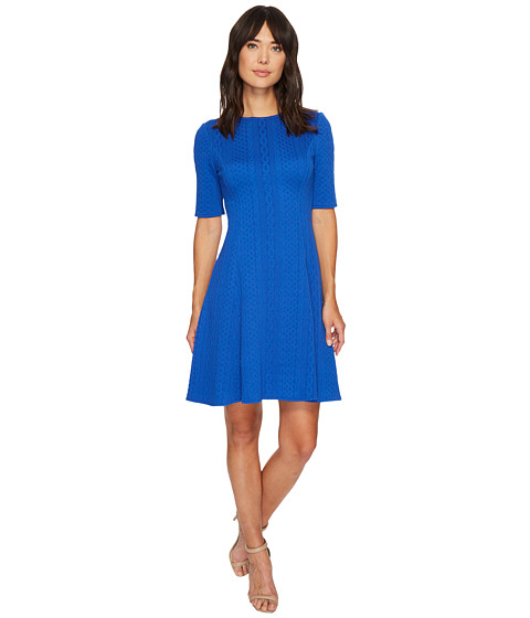 Imbracaminte Femei London Times Cable Stripe Elbow Sleeve Fit amp Flare Dress Cobalt