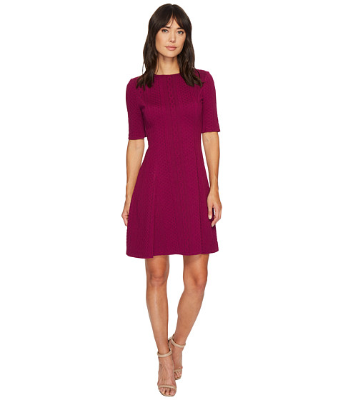 Imbracaminte Femei London Times Cable Stripe Elbow Sleeve Fit amp Flare Dress Plum