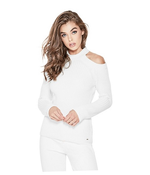 Imbracaminte Femei GUESS Ingrid Cold-Shoulder Sweater white